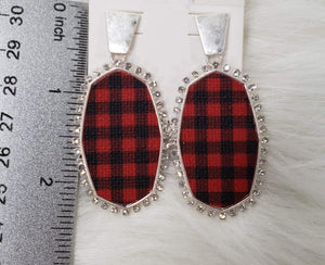 Jewelry Silver Buffalo Plaid Earrings