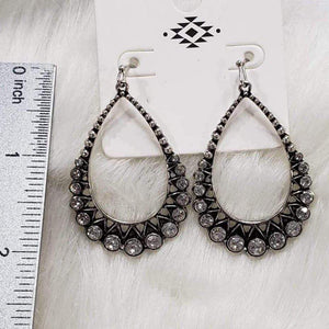 Jewelry Silver Teardrop Rhinestone Earrings