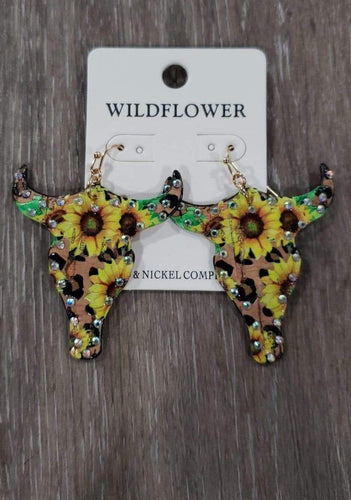 Jewelry Skull Sunflower Earrings w/Lime Green