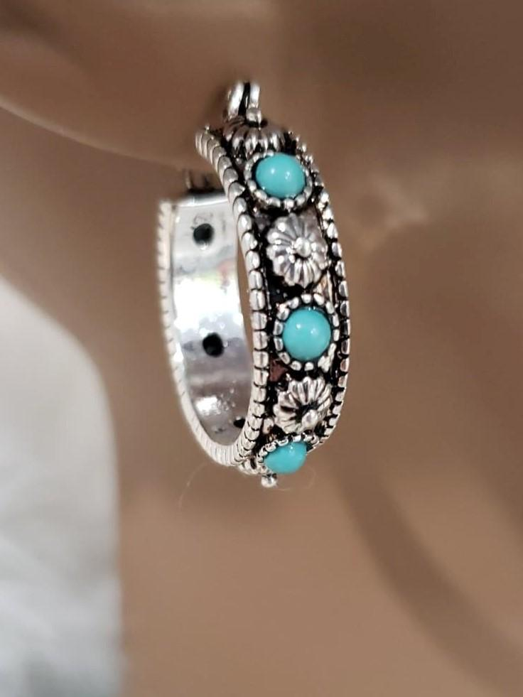 Jewelry Small Turquoise and Silver Hoop Earrings