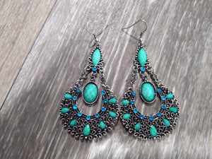 Jewelry Turquoise & blue rhinestone drop earrings