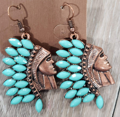 Jewelry Turquoise Indian Head Earring