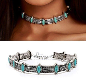 Jewelry Turquoise & silver choker necklace
