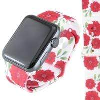 Jewelry White/Red Floral S/M 38mm Apple Watch bands S/M 38mm and 42mm