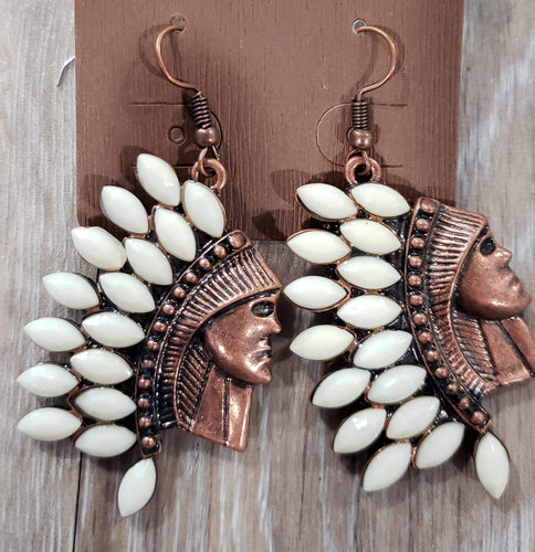 Jewelry White Turquoise Indian Head Earring