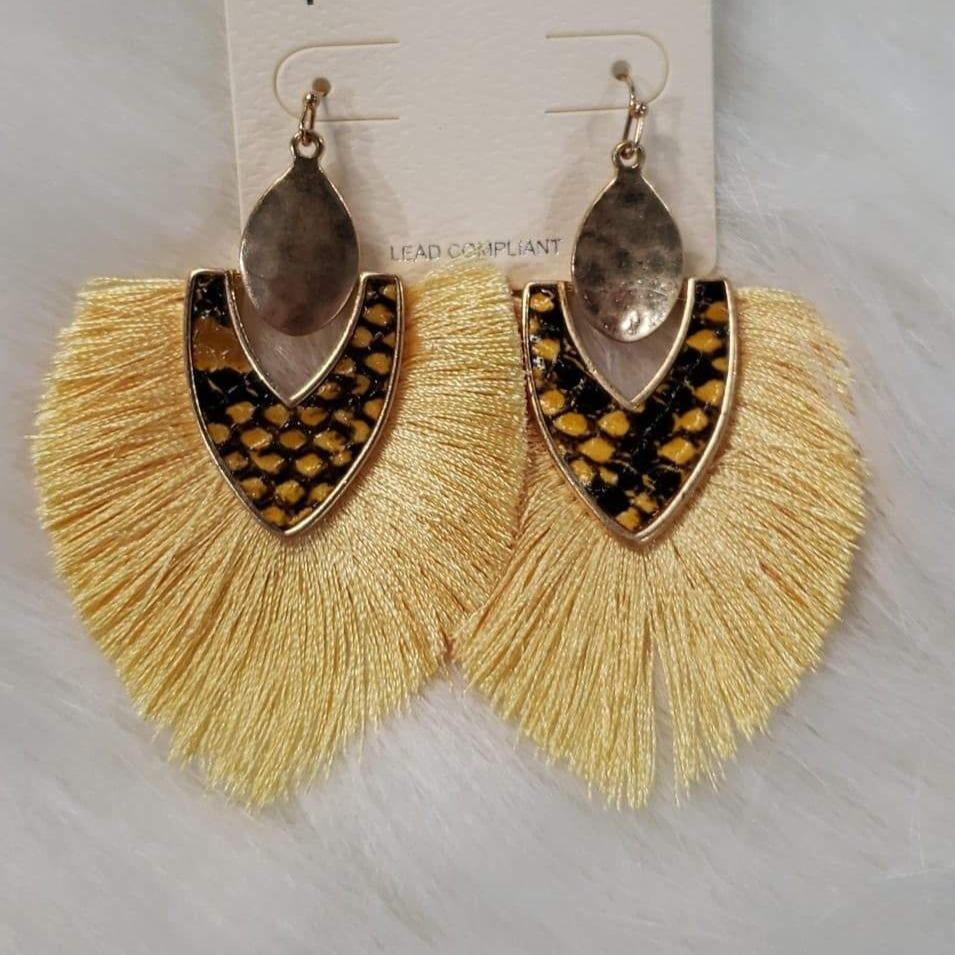 Jewelry Yellow Fringe/Snakeskin Earrings