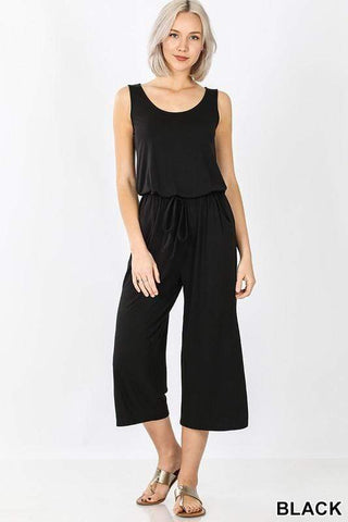 Jumpsuit Black Sleeveless Jumpsuit With Pockets