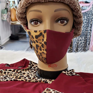 Nelly's Mask Cheetah/Maroon Nelly's Mask (Made Locally)