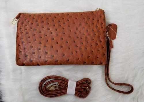 Purse Brown Faux Ostrich Clutch and Crossbody