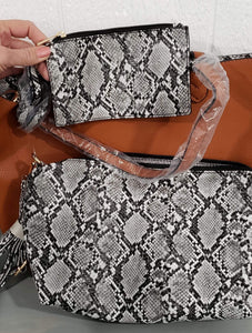 Purse Large Faux Leather/Snakeskin 3 Piece Purse Set
