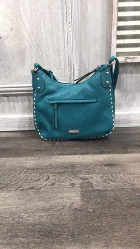 Purse Turquoise w/ cream trim purse