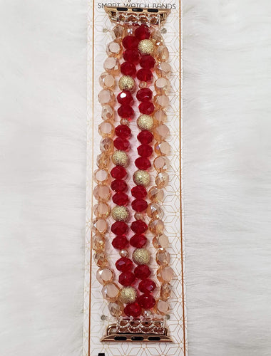 Red and Gold Beaded Apple Watch Band 38mm to 42mm