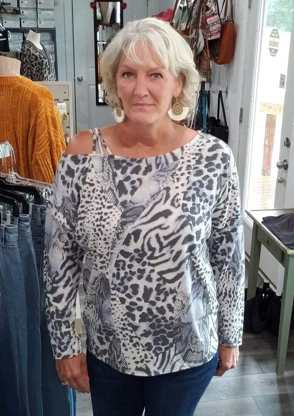 Shirt Animal Print Terry One Shoulder Top (XL fits like 2X - Plus Size)
