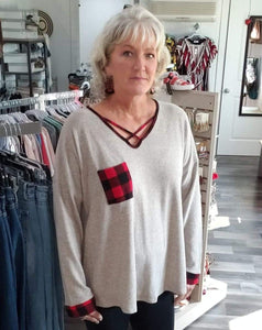 Shirt Beige/Gray Sweater with Criss-cross Buffalo plaid