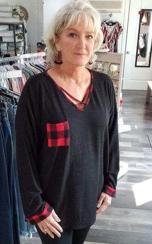 Shirt Black Sweater with Criss-cross Buffalo plaid