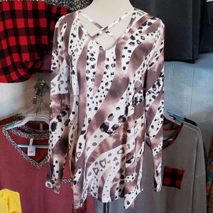 Shirt Brown and White Cheetah Shirt