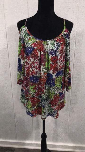 Shirt Colorful floral open shoulder top