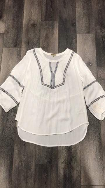 Shirt Cream w/ lace blue embroidery top