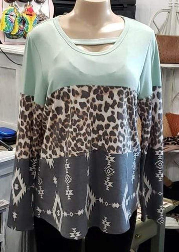 Shirt Mint Green And Cheetah Shirt