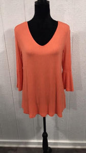 Shirt Orange 3/4 bell sleeve sweater