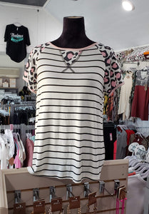 Shirt Pink Leopard/Stripe Shirt