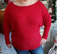 Shirt Red Dolman Sleeve Sweater - Plus Size