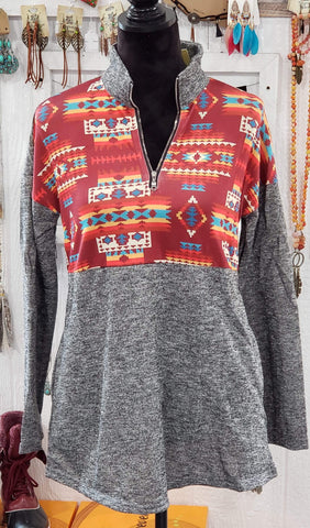 Shirt S Grey and Aztec Pullover Shirt