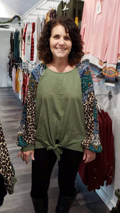 Shirt Umgee L/S Leopard and Paisley Print/Sage