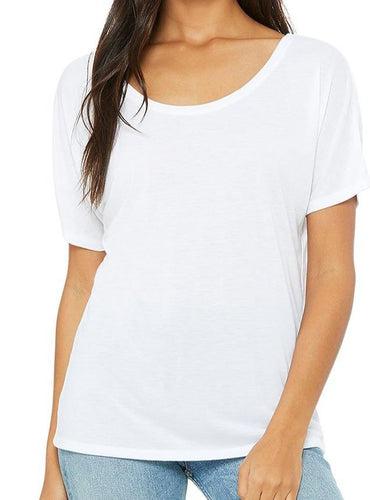 Shirt Women's White Bella Canvas Flowy Raglan Tee - Plus size available