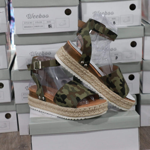 Shoes Camo Wedge Sandal