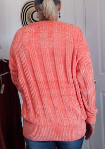 Sweater Deep Coral  Chenille Sweater