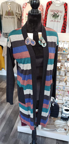 Vest Cardigan Black/Blue