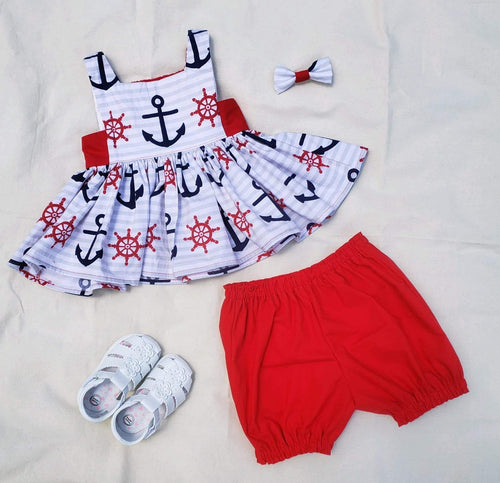 Youth Toddler Anchor Top, Bloomers, and Bow