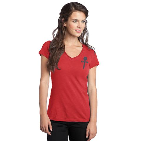 Women's Gonzo Logo Lightweight V-Neck Fitted Red Tee