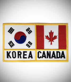KOREA CANADA FLAG W/ ENG LETTER SEW ON PATCH