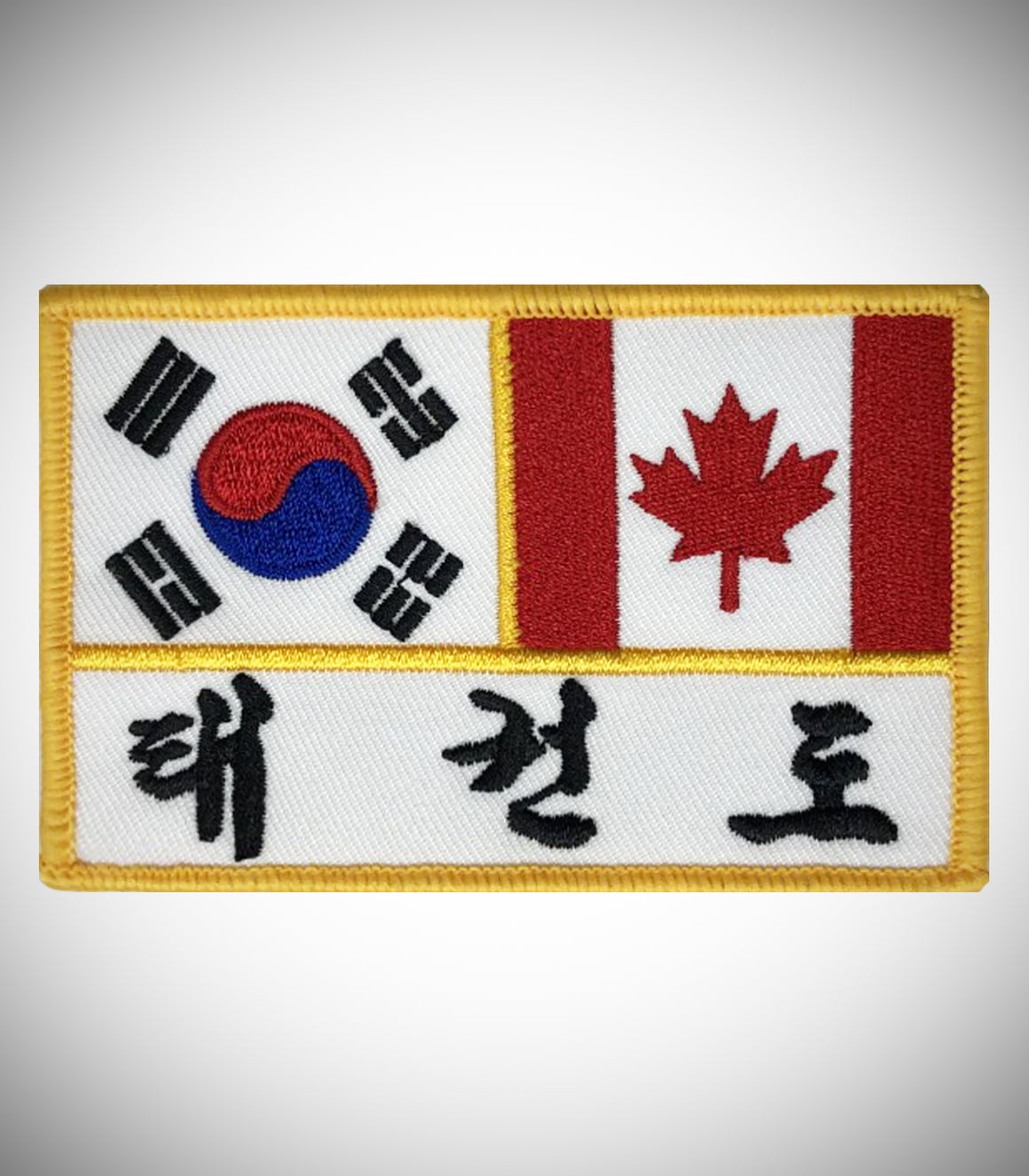 KOREA CANADA FLAG W/ KOR LETTER SEW ON PATCH