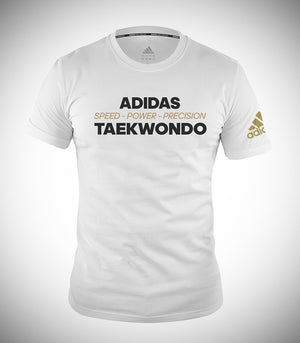 "ADIDAS TAEKWONDO T-SHIRT ""SPEED POWER"" WHITE/GOLD"