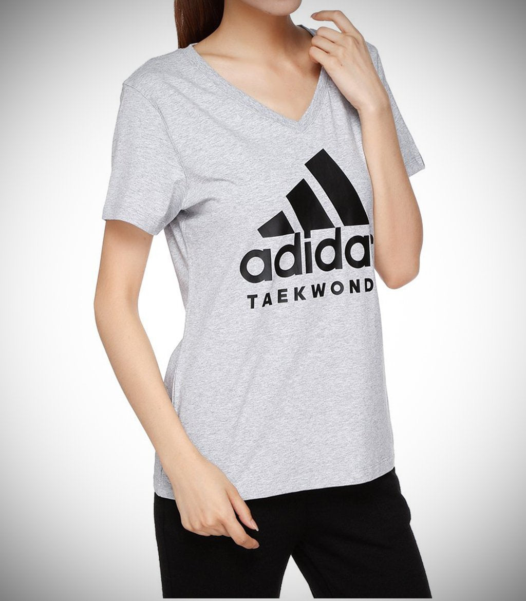ADIDAS WOMEN TAEKWONDO T-SHIRT GREY/BLACK