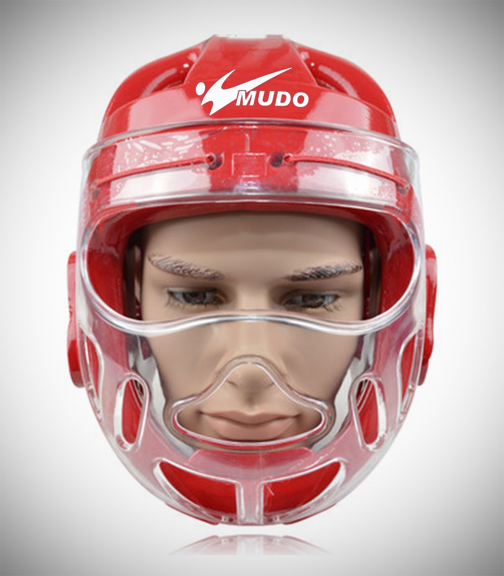 MUDO HEADGEAR CLEAR FACE SHIELD RED