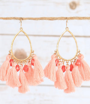I'm So Fancy Pink Tassel Earring