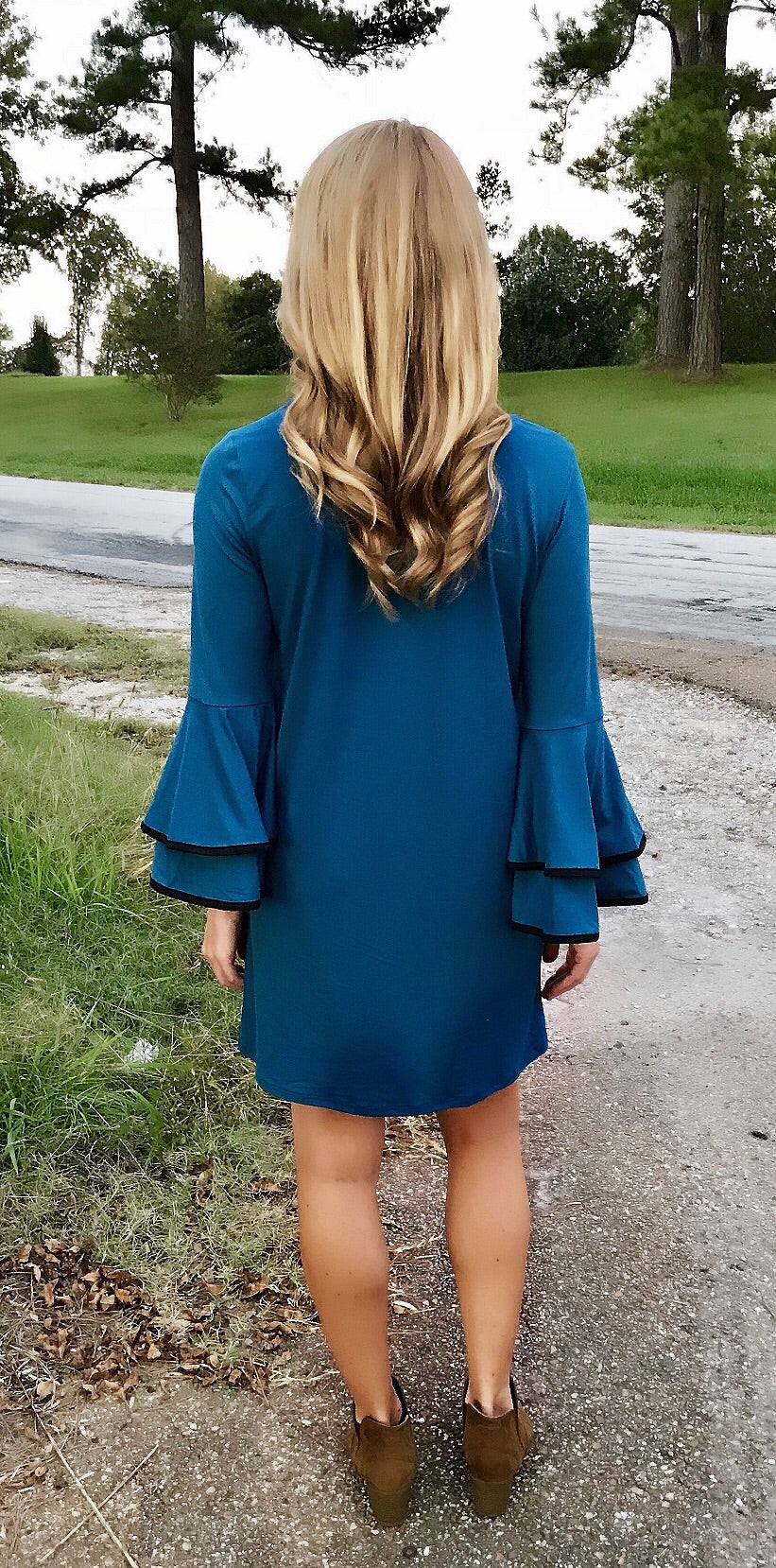 Blue as the Moon Bell Sleeve Dress