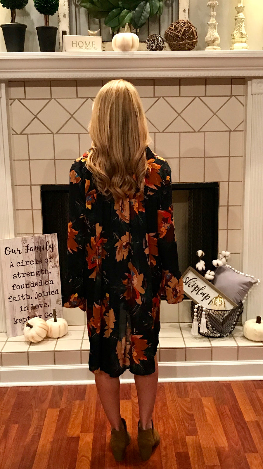 Evening Leaves Floral Ruffle Sleeve Dress