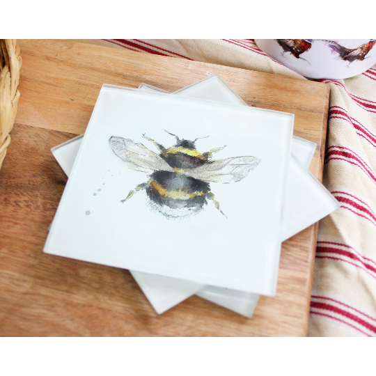 Bee Glass Coasters Set Of Four