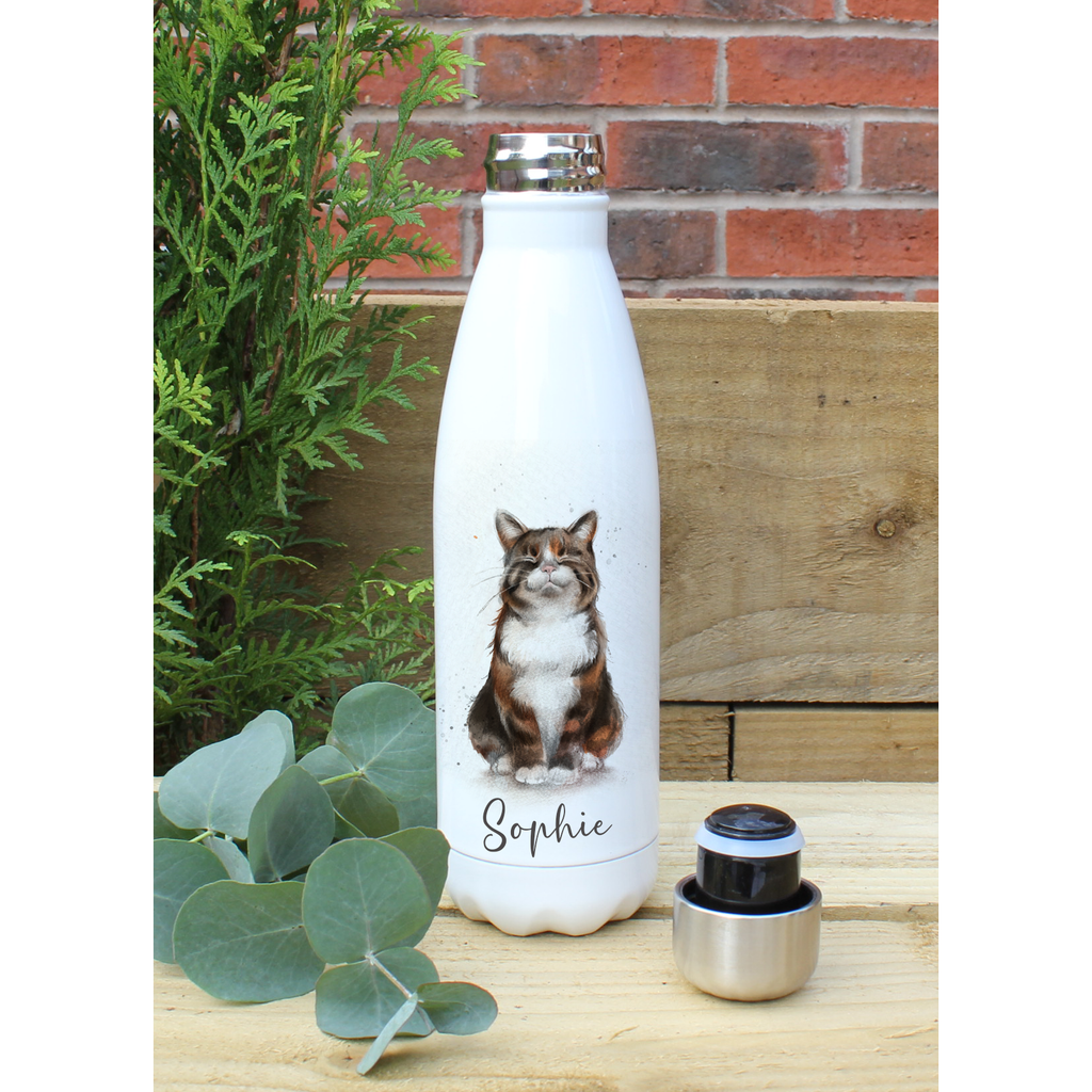 Cat Hot and cold Drink Personalised Bottle