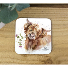 Load image into Gallery viewer, Angus Highland Cow Hardback coasters Set Of Four