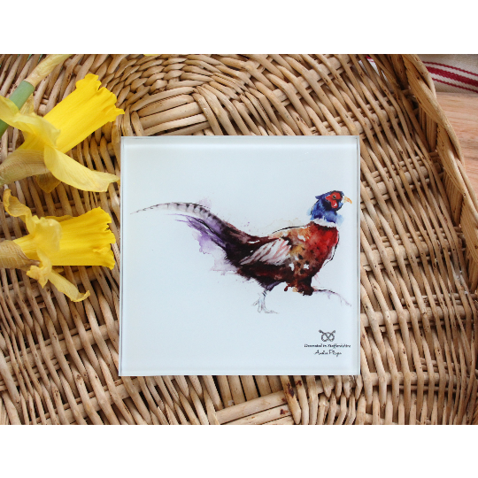 Pheasant Glass Coasters Set Of Four