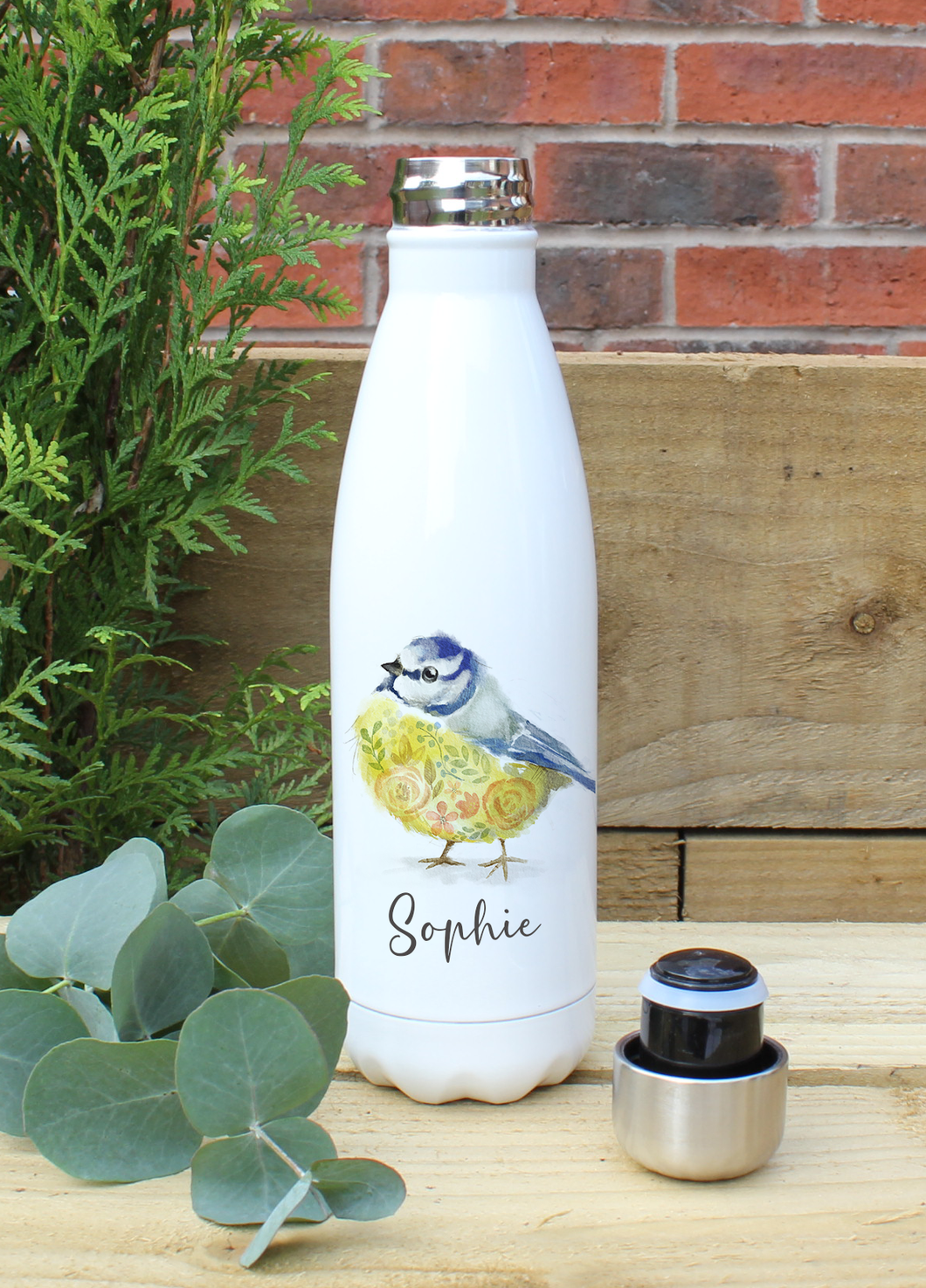 Personalised Blue Tit Water Bottle