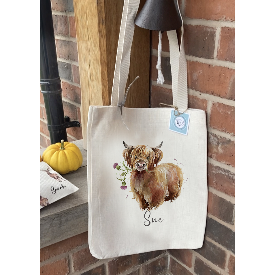 Personalised Angus Highland Cow Bag