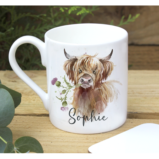 Personalised Highland Cow Mug
