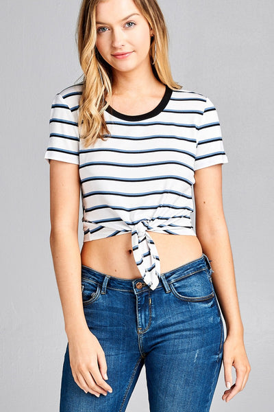 Stripe Knotted Short Sleeve Crop